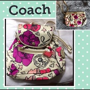 Coach Kyra Poppy Floral Print Backpack NWOT